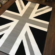 Modern Rugs Approx 8x5ft 160x230cm Woven Back Union Jack Black-Grey-Cream New